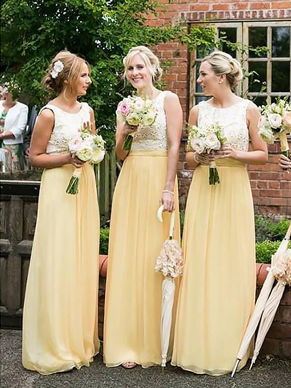 Daffodil A-Line Scoop Floor-Length Bridesmaid Dresses