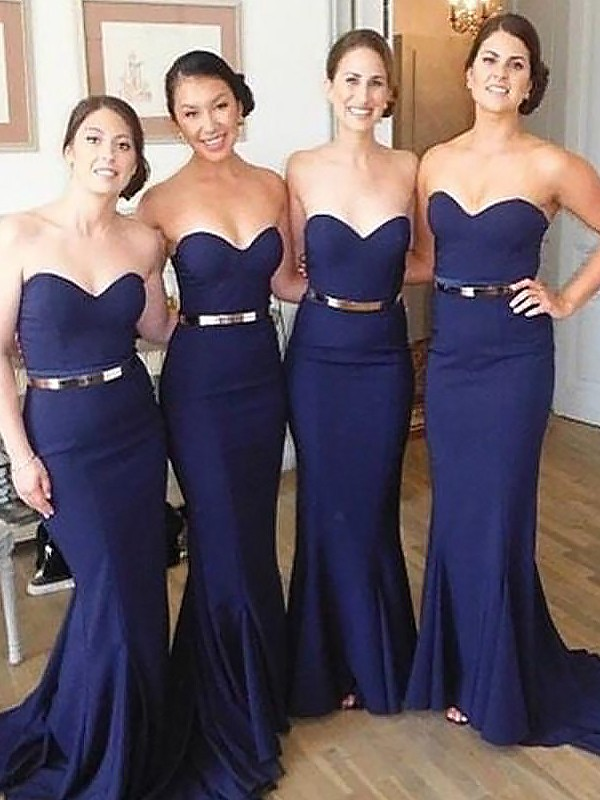 Dark Navy Sweetheart Satin Brush Train Bridesmaid Dresses