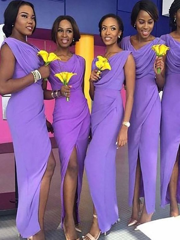 Chiffon Scoop Floor-Length Lavender Bridesmaid Dresses