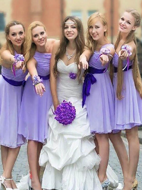 A-Line One-Shoulder Short/Mini Lilac Bridesmaid Dresses