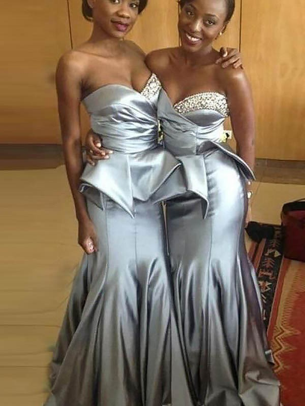 Silver Sweetheart Satin Brush Train Bridesmaid Dresses