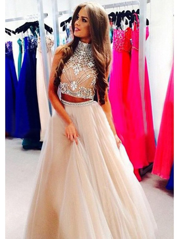 Champagne High Neck Tulle Floor-Length Prom Dresses