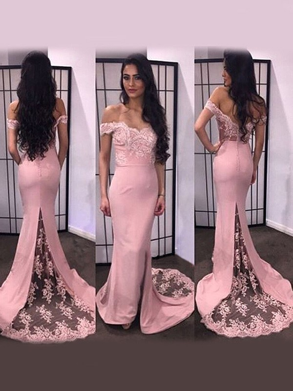 Satin Off-the-Shoulder Brush Train Pink Prom Dresses
