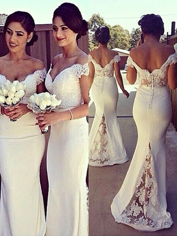 0f39488e480 Mermaid Off-the-Shoulder Brush Train Ivory Bridesmaid Dresses with Lace