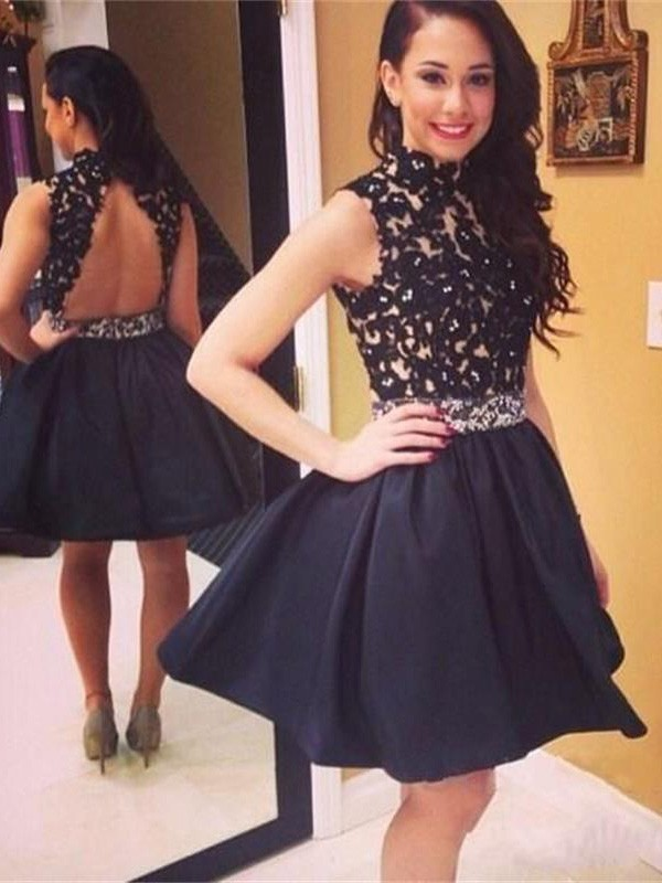 High Neck Short/Mini Black Homecoming Dresses with Lace