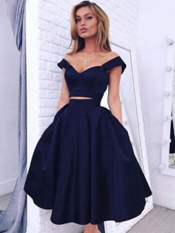 Black Off-the-Shoulder Satin Tea-Length Homecoming Dresses