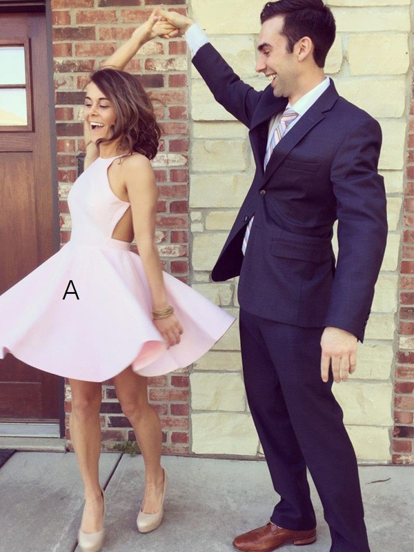 A-Line Halter Short/Mini Pink Homecoming Dresses