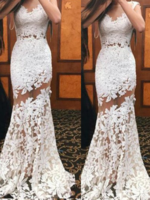 White Scoop Lace Brush Train Prom Dresses