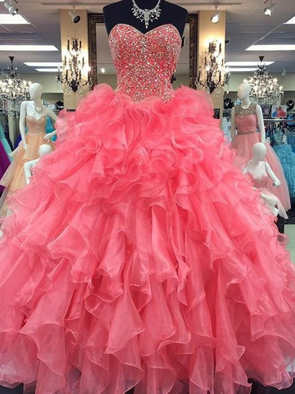 Ball Gown Sweetheart Floor-Length Watermelon Prom Dresses with Beading