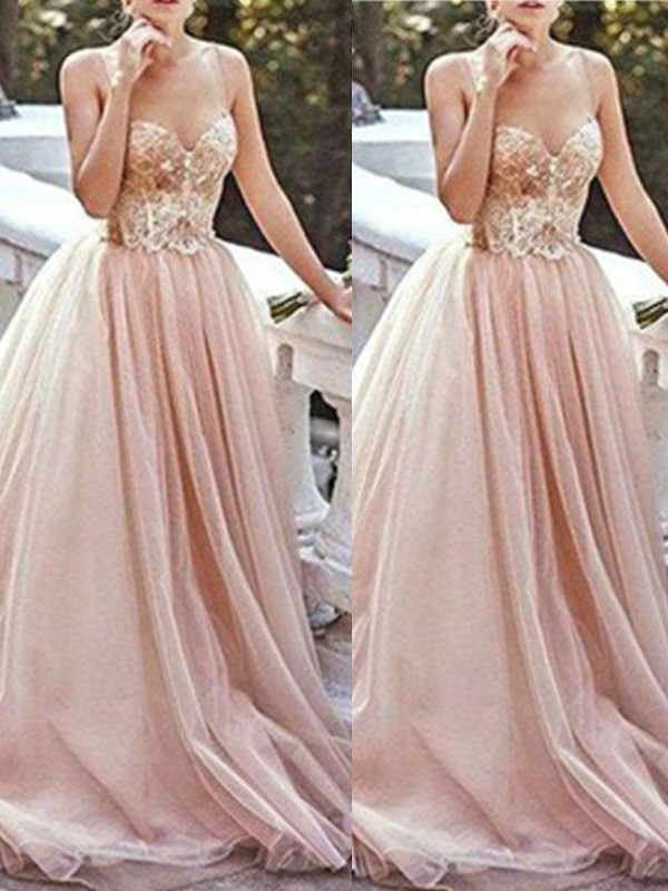 Tulle Sweetheart Brush Train Ivory Prom Dresses
