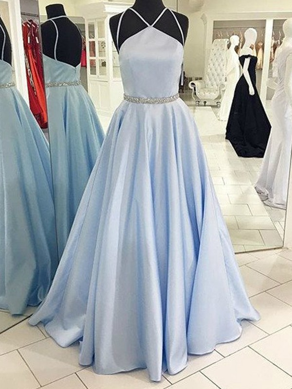 Floor-Length Light Sky Blue Halter Prom Dresses