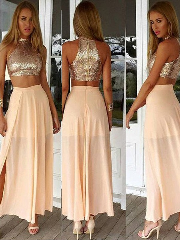 High Neck Ankle-Length Pearl Pink Prom Dresses with Sequin