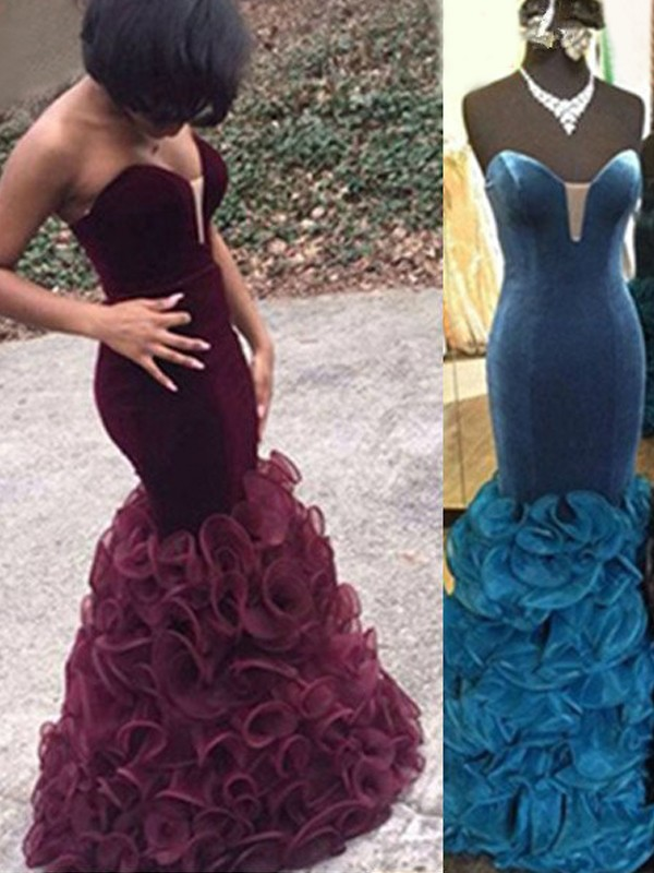 Floor-Length Blue Sweetheart Prom Dresses