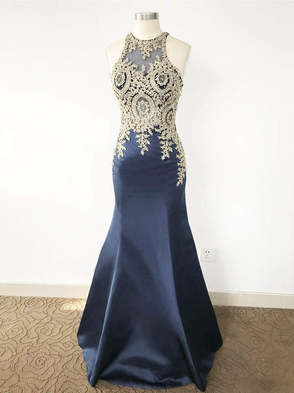 Mermaid Scoop Brush Train Royal Blue Prom Dresses with Beading