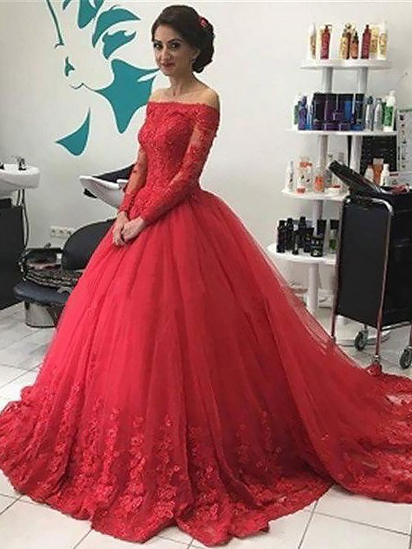 9b999a0858 Tulle Long Sleeves Off-the-Shoulder Court Train Red Prom Dresses ...