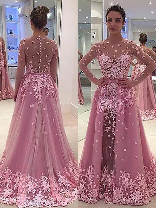 A-Line Scoop Floor-Length Pink Prom Dresses with Applique