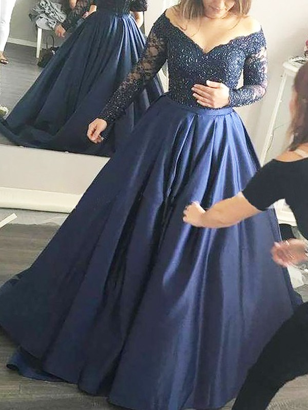 32481378bbc Satin Long Sleeves Off-the-Shoulder Brush Train Dark Navy Prom Dresses ...