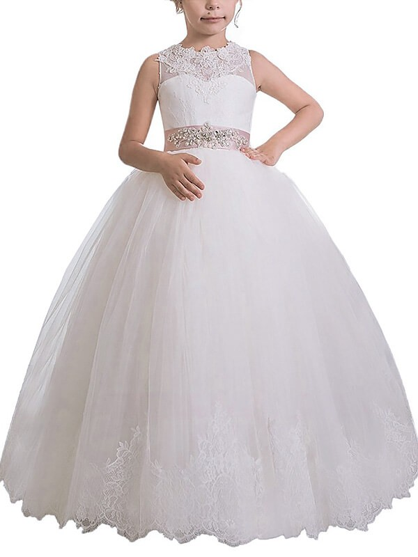Ball Gown Scoop Floor-Length Ivory Flower Girl Dresses