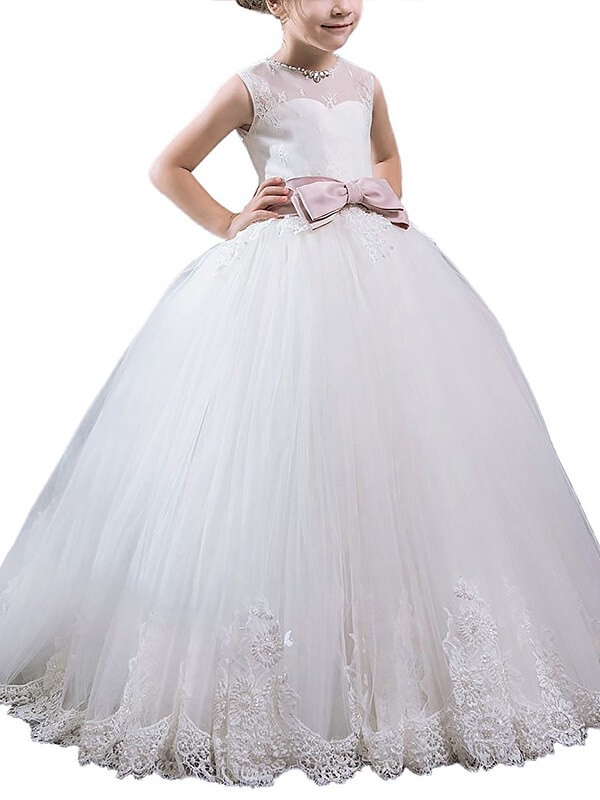 Ivory Scoop Floor-Length Flower Girl Dresses with Sash/Ribbon/Belt