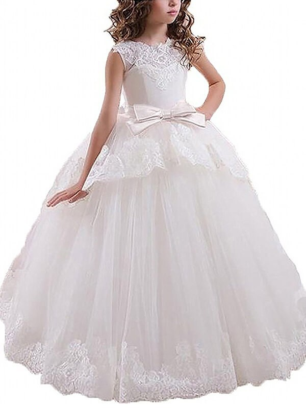 Floor-Length White Scoop Flower Girl Dresses with Sash/Ribbon/Belt