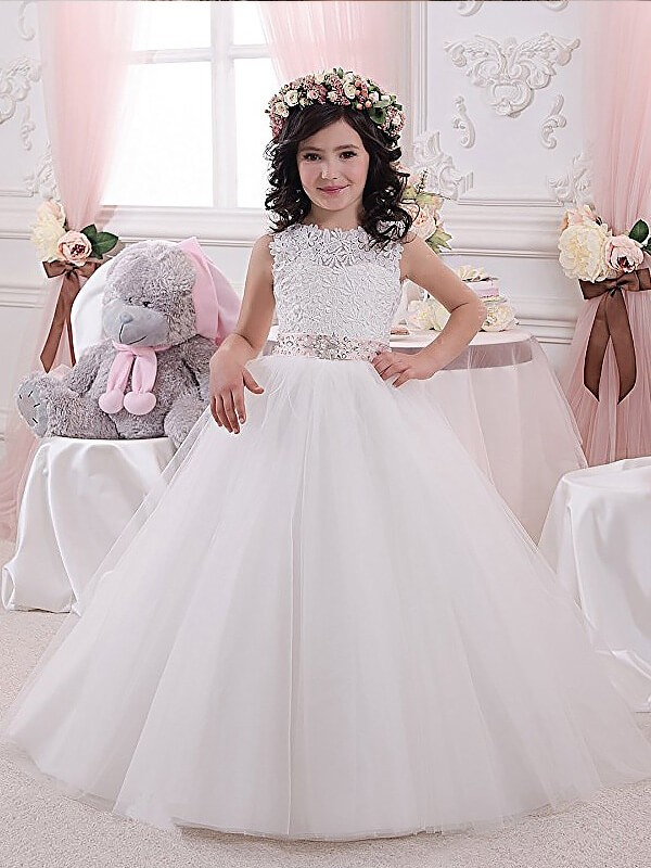 White Scoop Tulle Floor-Length Flower Girl Dresses