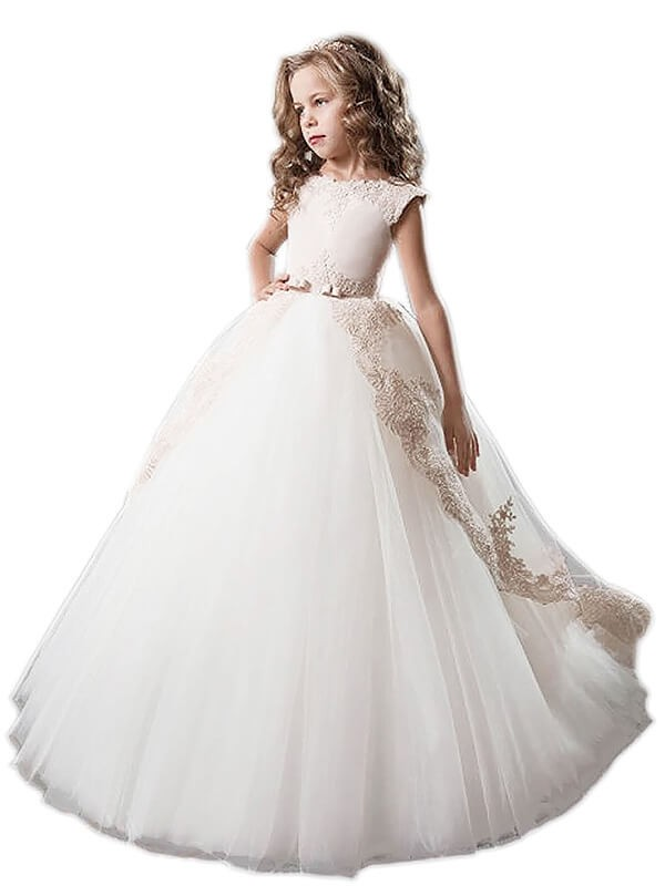 Ball Gown Tulle Scoop Floor-Length Ivory Flower Girl Dresses