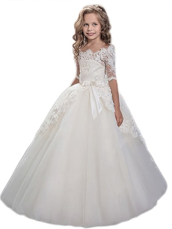 Short Sleeves Off-the-Shoulder Floor-Length Ivory Flower Girl Dresses