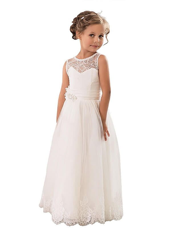 A-Line Scoop Floor-Length Ivory Flower Girl Dresses