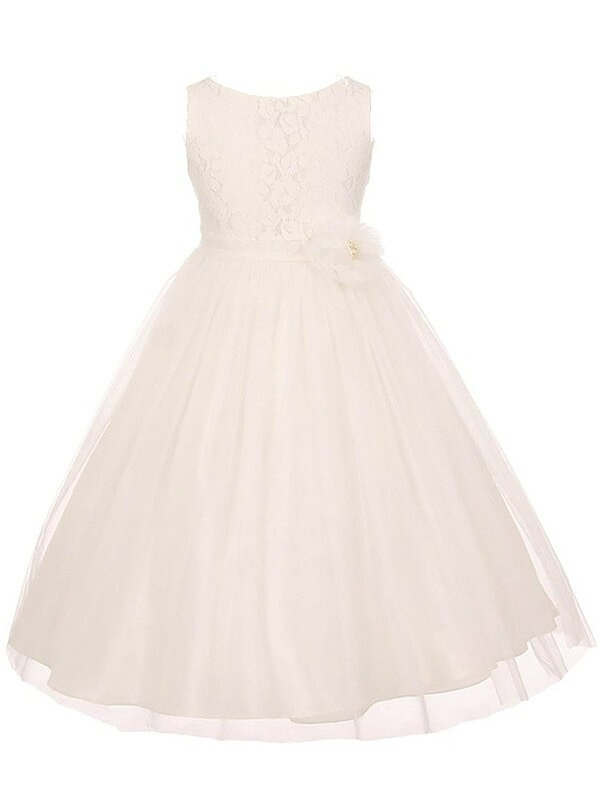 Tulle Scoop Ankle-Length Pink Flower Girl Dresses