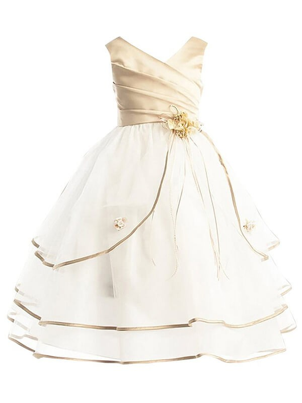 A-Line Tulle V-neck Ankle-Length Flower Girl Dresses