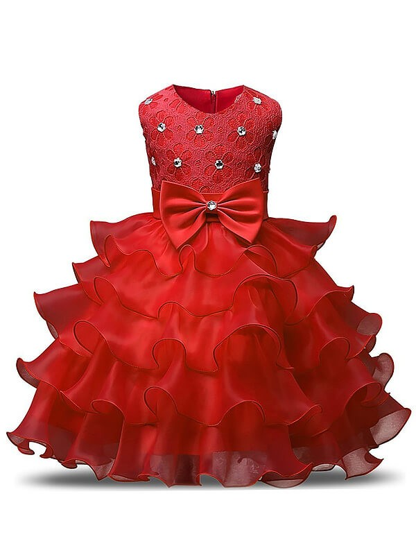 Tea-Length Red Scoop Flower Girl Dresses with Ruffles