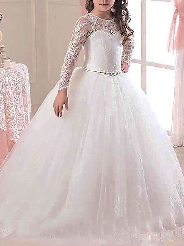 Ball Gown Long Sleeves Scoop Floor-Length White Flower Girl Dresses