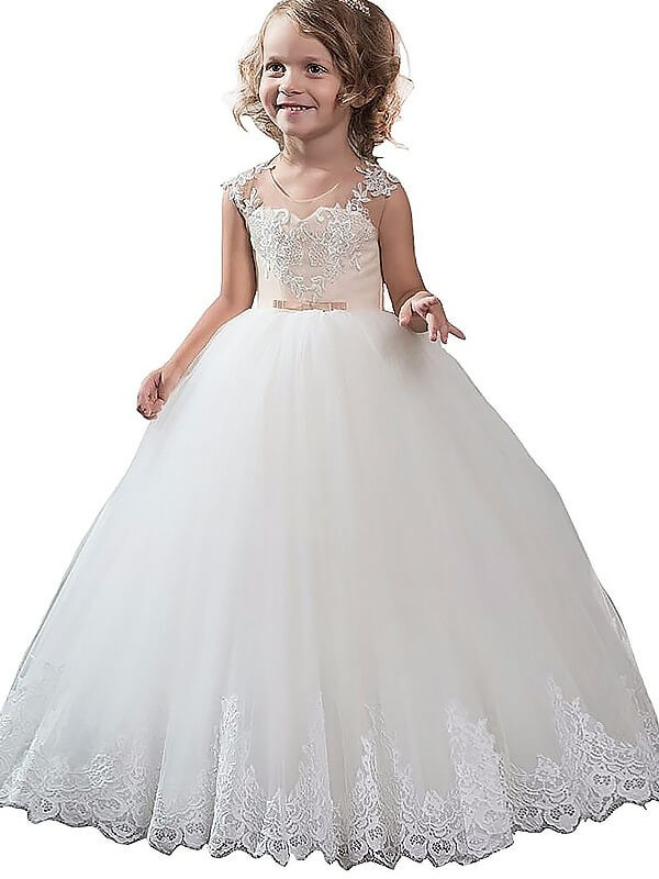 Ball Gown Scoop Floor-Length Ivory Flower Girl Dresses with Applique