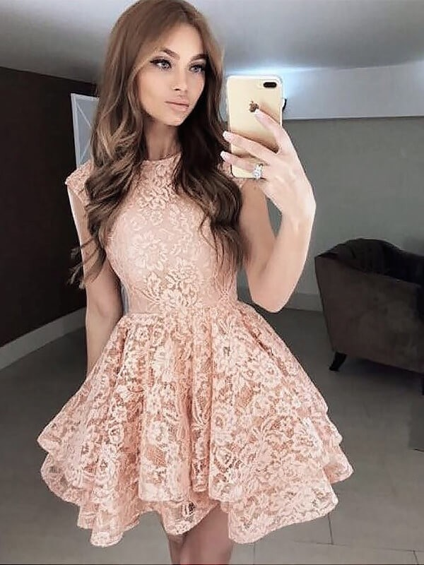 Pearl Pink Scoop Lace Short/Mini Prom Dresses