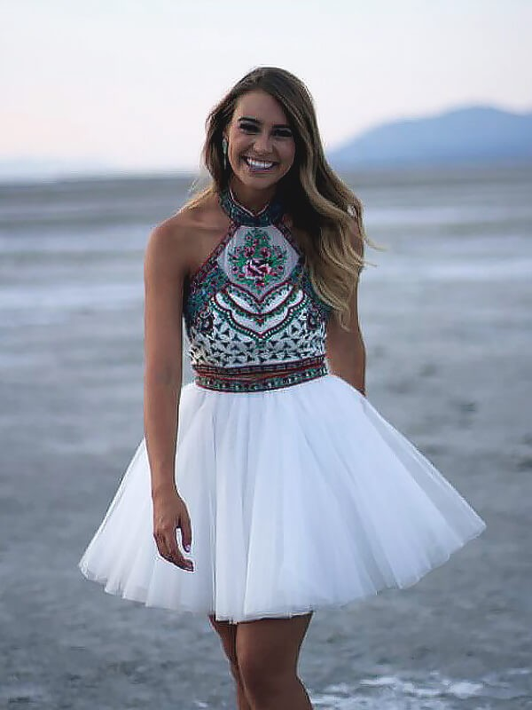 A-Line Halter Short/Mini White Prom Dresses