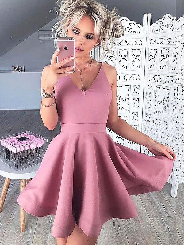 A-Line V-neck Short/Mini Pink Prom Dresses