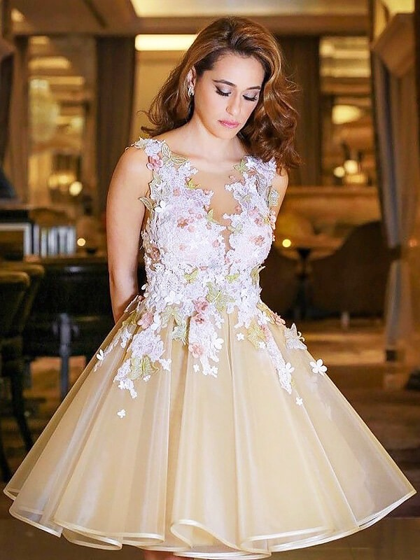 Champagne Scoop Organza Short/Mini Prom Dresses