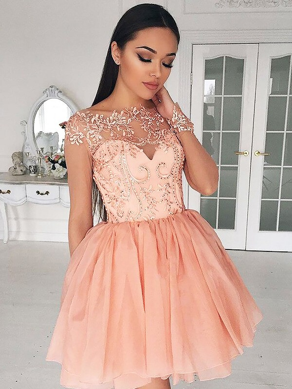 A-Line Long Sleeves Bateau Short/Mini Pink Prom Dresses