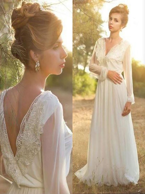 Chiffon Long Sleeves V-neck Brush Train Ivory Wedding Dresses