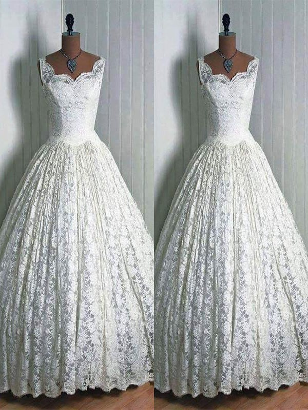 Ivory Sweetheart Lace Floor-Length Wedding Dresses