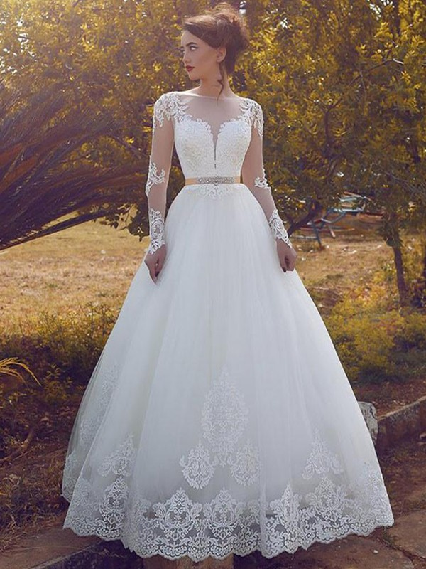 Ball Gown Tulle Long Sleeves Bateau Floor-Length Ivory Wedding Dresses