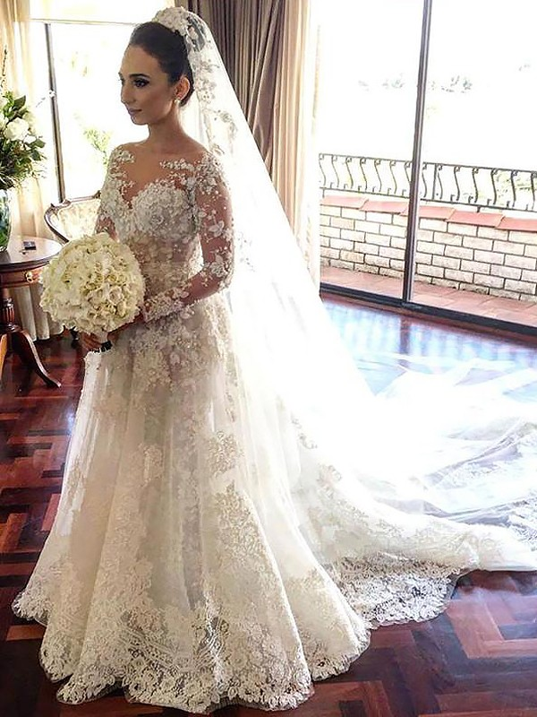 Long Sleeves A-Line Bateau Chapel Train Ivory Wedding Dresses