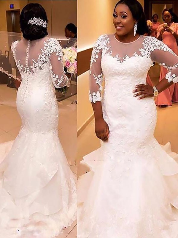 Trumpet/Mermaid Tulle 3/4 Sleeves Applique Lace Court Train Wedding Dresses