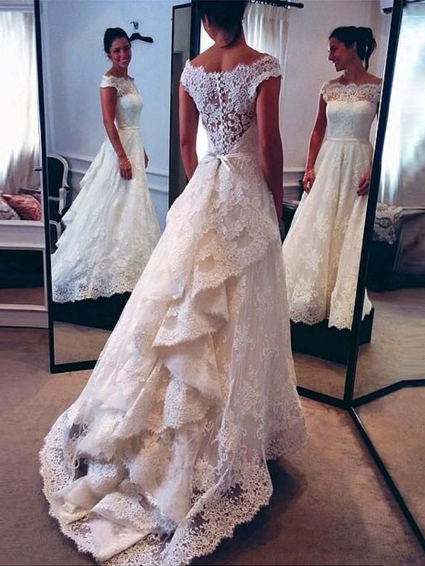 Ivory Scoop Lace Sweep/Brush Train Wedding Dresses