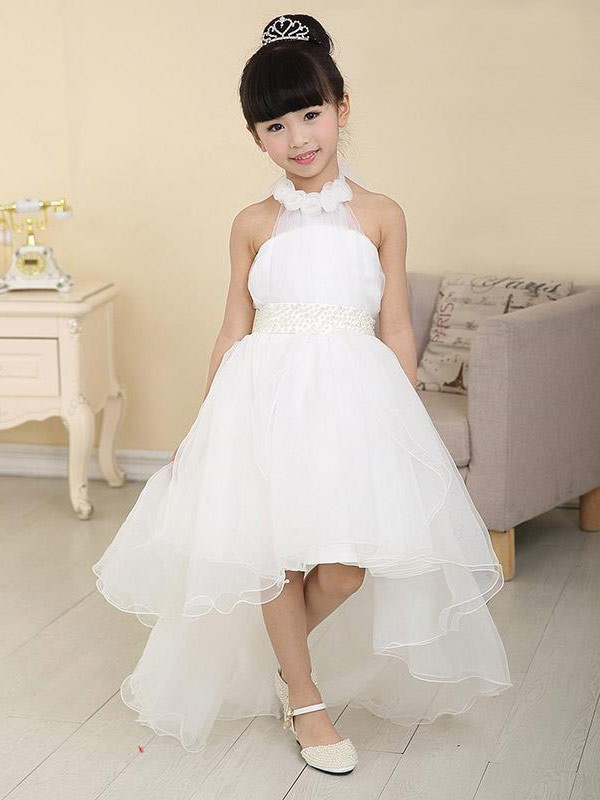 Organza High Neck Sweep/Brush Train White Flower Girl Dresses