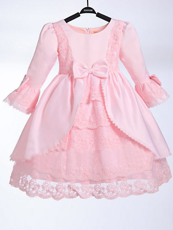 Pink Scoop Satin Tea-Length Flower Girl Dresses