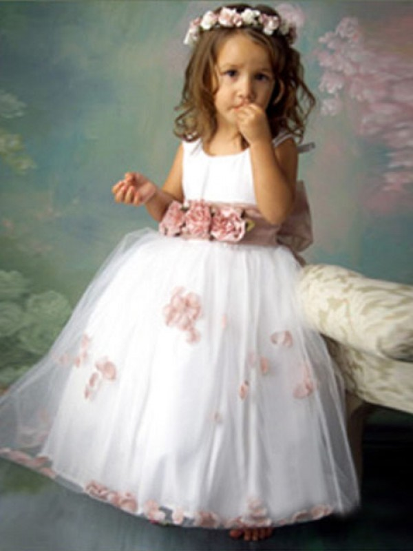 A-Line Scoop Long White Flower Girl Dresses