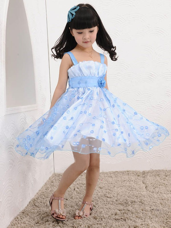 Straps Knee-Length Light Sky Blue Flower Girl Dresses