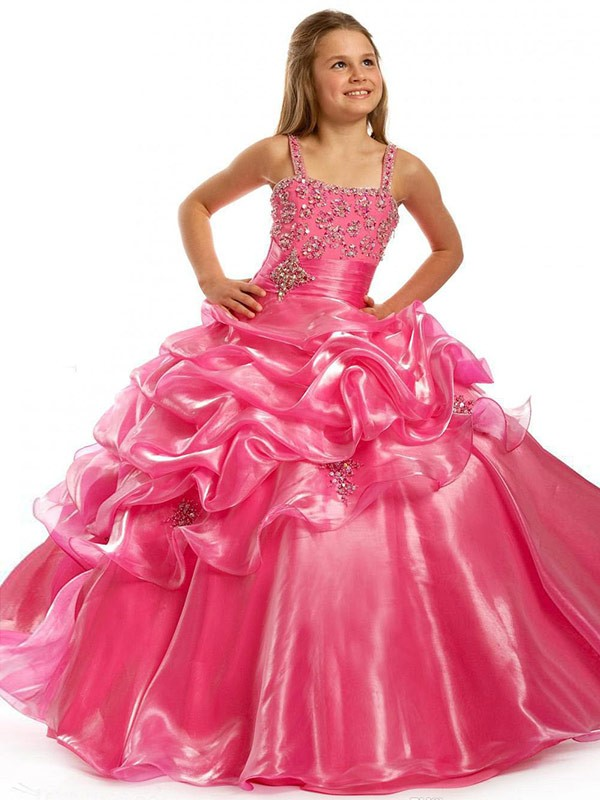 Taffeta Square Floor-Length Pink Flower Girl Dresses