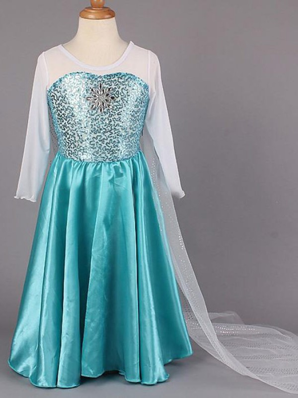 A-Line Scoop Floor-Length Blue Flower Girl Dresses